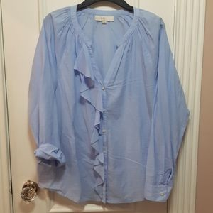 LOFT v neck button up blouse with ruffle
